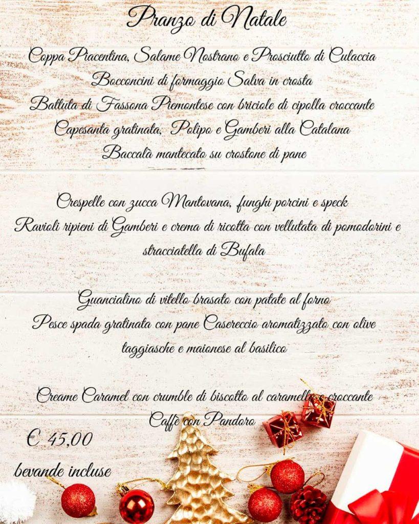 Ristorante Tocororo menu di Natale 2019
